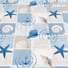 jubelis® maritime Wachstücher im Muschel-Design in Blau, Weiß und Sand