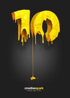 3D numbers have been used as well as having the paint dripping idea included. It makes it stand out as the numbers and paint are yellow and it's positioned against a black background.