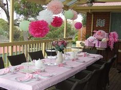 """what the table would look like with different heighted """"pastel"""" coloured lanterns"""