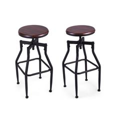 Pair Of Bar Stool Swivel Metal Wood Seat Top Height Adjustable Barstool W #JAXPETY