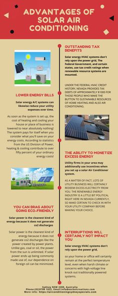 The infographics is designed by Air Conditioning Sydney Special which gives the general information about Solar Air Conditioning and its advantages. Energy Bill, Do You Work, Solar Energy, Conditioning, Solar Panels, Nevada, Sydney, Infographic, Solar Power
