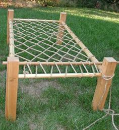 Rope bed frame instructions. Click the image on the link for instructions or : http://www.daviddfriedman.com/Medieval/Articles/rope_bed/rope_bed.htm