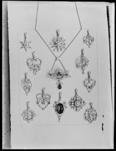 Selection of dress pendants on display