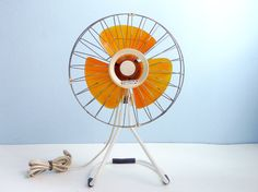 "edgina: "" Electric Fan metal cage yellow plastic blade by EuroVintage "" Electric Fan, Electric Company, Vintage Fans, Vintage Love, Keep My Cool, Your Biggest Fan, Vintage Industrial, Ceiling Fan, Mid-century Modern"