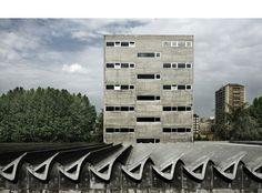 centro de estudios hidrograficos - miguel fisac Most Beautiful Cities, Madrid, Repeating Patterns, Modern Architecture, Facade, Skyscraper, Concrete, Spain, Multi Story Building