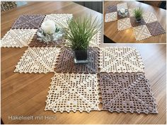 "Häkel- / Tischläufer ""Grannystyle with heart"" - Bir - Diy Crochet Tablecloth, Crochet Table Runner Pattern, Crochet Doilies, Knitting Patterns Free, Crochet Patterns, Crochet For Beginners Blanket, Modern Crochet, Knitted Blankets, Beautiful Crochet"