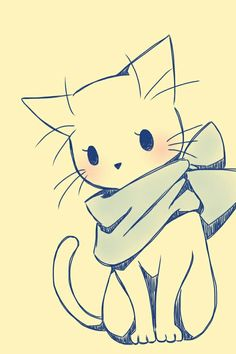 16 Trendy ideas for drawing cute animals sketches kawaii Pet Anime, Anime Animals, Anime Art, Cute Animals, Kawaii Drawings, Cool Drawings, Pencil Drawings, Drawings Of Cats, Anime Drawings Sketches