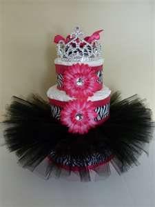 Diva Princess Zebra Tutu Baby Diaper Cake by mamabijou on Etsy  -- @Carina Rolf