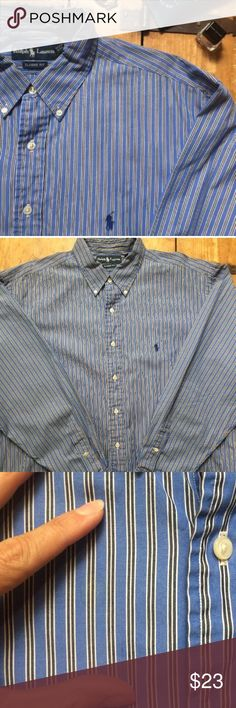 """Polo•Ralph•Lauren•17.5/XL•Oxford•Shirt• a men's long sleeve button front 100% cotton oxford shirt. Size 17.5-XL classic fit per tag, please see measurements below. Classic  pony at chest. Excellent overall used condition. No fraying at cuffs or collar. Tiny spot (as pictured) that may come out.  Please refer to pictures as they are an integral part of the description. Please also refer to measurements before purchase. Chest: 29"""" (armpit-armpit) Shoulders: 22"""" Length: 34"""" Sleeve: 35.5"""" (from…"""