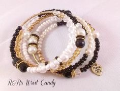 Black Gold and White Coil Bracelet Wrap by RandRsWristCandy, $12.00