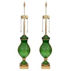 Pair of Mid Century Seguso for Marbro Murano Green Glass Lamps