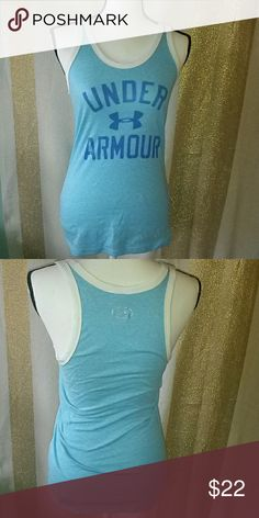 💙Under Armour Tank retro 70s look💜 Short sleeve No rips, holes or stains. Size small/p Heather blue and white color Measurements: Length- 26 inches Chest- 18 inches Under Armour Tops Tank Tops