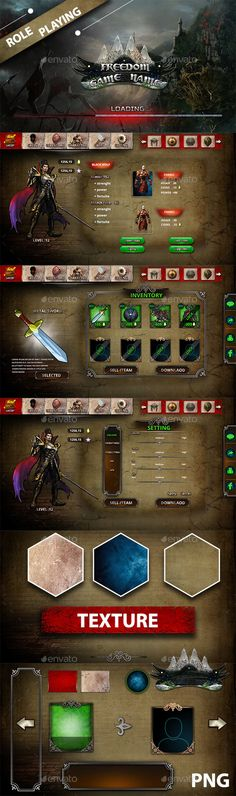</br> Role Playing Game UI can be used to build user interface for role playing ad. Adventure Games, Game Assets, Game Ui, User Interface, Games To Play, Ads, Stuff To Buy