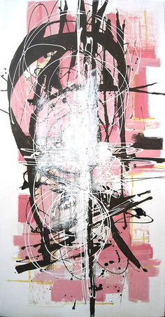 abstract art in pink
