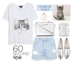 """""""Graphic T-Shirt"""" by rever-de-paris ❤ liked on Polyvore featuring moda, MANGO, Topshop, Miu Miu, MICHAEL Michael Kors, Chanel, polyvoreeditorial, summer2015, graphictshirt i 60secondstyle"""