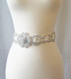 Delicate Rhinestone Sash, Ivory Crystal Bridal Sash, Ivory Wedding Belt - CALLA. $130.00, via Etsy.
