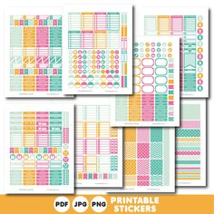 Turquoise, orange and pink printable weekly planner stickers with daily stickers, work stickers, fitness stickers and much more, STI-405