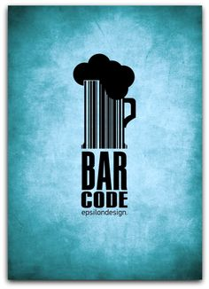 typography bar code by tasos7 d4akuao.  Very creative, clever double meaning, & the Pantone® Pagoda Blue background is beautiful!