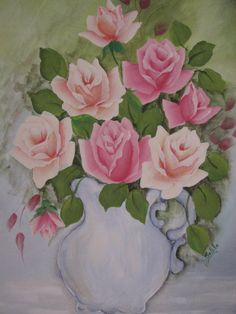 Canvas Painting Hand Painted Cottage Chic Pink by pinkrose1611, $40.00