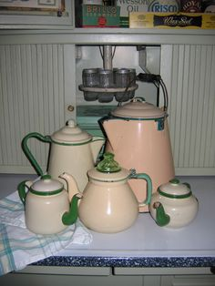 Cream and Green Graniteware Coffee and Tea
