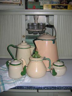 Cream and Green Graniteware Coffee and Tea