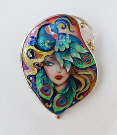 Girl with peacock. Mandala Jewelry, Peacock Jewelry, Expensive Jewelry, Resin Pendant, Enamel Jewelry, Body Jewelry, Jewlery, Modern Jewelry, Stones And Crystals