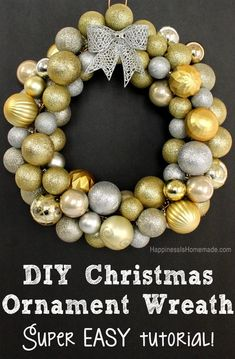 DIY Christmas Ornament Wreath Tutorial - super easy step-by-step how to guide. Costs less than $10 to make!