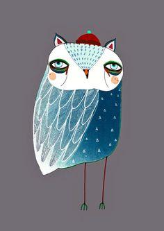 Owl Illustration. Blue Night Owl . limited edition owl print by Ashley Percival. Illustration Print.