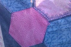 Quicker cheat for sewing hexagon quilt: Zig zag each piece to matching backing