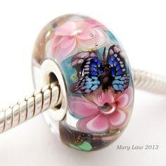 Butterfly Garden Dichroic Bead for Pandora Troll by glasslight, $48.00