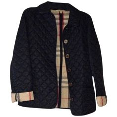 Pre-owned Burberry Brit Quilted Jacket Coat (3 610 SEK) ❤ liked on Polyvore featuring outerwear, coats, blac, blue coat, burberry, quilted coat y burberry coat