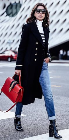 fashionbale fall outfit black coat + red black + skinnies + heels + sweater