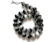 faceted Agate beads, black banded agate beads, 12mm faceted round Agate beads, faceted semi precious gemstones