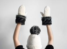 8e5fc469bd7 RESERVED FOR MEISHAN  handmade cute natural white set of fur decorated  mittens and grey fur pom pom hat from wool