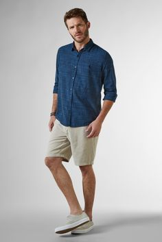 CAMISA REGULAR HAME INV 18 RESERVA Denim Button Up, Button Up Shirts, Lisa, 18th, Mens Tops, T Shirt, Products, Fashion, Tropical Prints