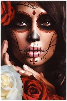 Raquel Art Print by Artist Daniel Esparza - The Atomic Boutique (Halloween Makeup Catrina) Sugar Skull Make Up, Halloween Makeup Sugar Skull, Sugar Skulls, Sugar Skull Face Paint, Candy Skull Makeup, Candy Skulls, Skeleton Face Paint, Candy Skull Costume, Skeleton Girl