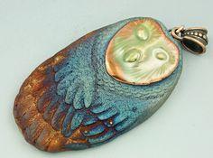 Raku Barn Owl Pendant by elementspottery on Etsy