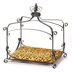 Luxury Pet Bed Dog Cat Metal Splendor Iron Royal Crown Bejeweled Style Padded #HomeLocomotion