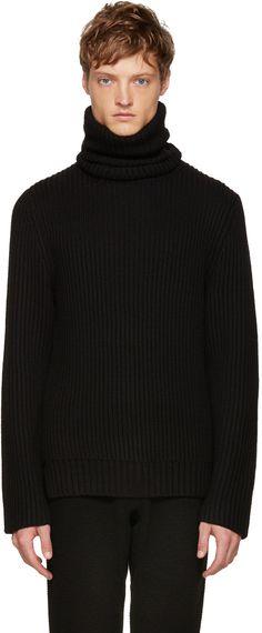 585€ Christian Dada - Col roulé en laine côtelée noir