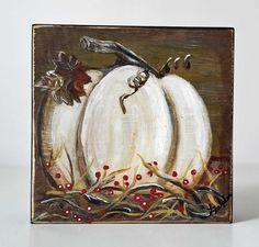 Primitive Art Autumn Decor Fall Art Shelf Sitter Original Painting on Wood White Pumpkin Paintings Harvest Fall Decor White Pumpkin Decor by LindaFehlenGallery on Etsy