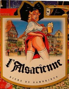 All ass in Elsass! The local beer in Alsace.naughty and nice! Beer Poster, Poster Art, Vintage Advertisements, Vintage Ads, Beer Maid, David Mann Art, Sous Bock, Beer Girl, Garage Art
