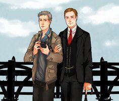 "fybakerstreet: "" BBC Sherlock: Mycroft H. and Lestrade by nella-fantasiaa """