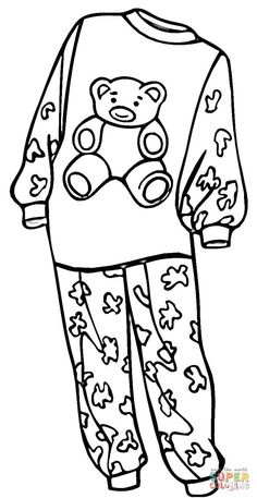 Coloring Pages For Girls, Animal Coloring Pages, Colouring Pages, Coloring Sheets, Coloring Books, Pj Day, Felt Animal Patterns, Pajama Day, Pajama Pattern