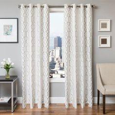 Softline Tyler Embroidered Grommet Top Curtain Panel Silver - 935TSK041GTUL96