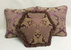 3 Burgundy Gold Throw Pillows by FeeneyLane on Etsy, $70.00