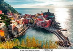 Aerial view of Vernazza - small italian town in the province of La Spezia, Liguria, northwestern Italy.