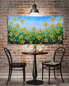 Yellow Poppy Painting, Made to Order, Large 24x48 Panoramic Wall Art, Floral Decor, Textured Modern Deep Edge Gallery XL Flower Painting