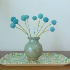 Pottery Vase with Pom pom Flowers  Blue vase  by berryisland