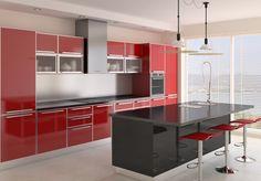 Cocina con muebles de color rojo y negro