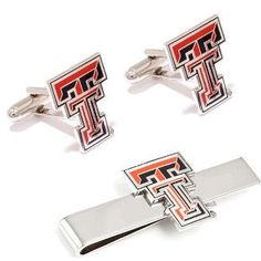 Texas Tech University Cufflinks and Tie Bar Gift Set